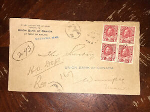 106a Block Of 4 On 1919 Neepawa Man. Union Bank Of Canada Registered Front Cover