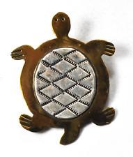 "Sterling Silver LB Gold Vermeil Turtle Pendant Lee Brown 1-1/2"" x 1-1/4"""