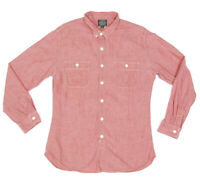J. Crew Western Shirt Sunset Red Chambray Button Front Long Sleeve Mens Large