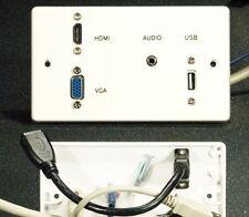 Placa Frontal de Pared AV, 2 Gang, vídeo VGA/HDMI/3.5mm Audio Jack/USB2 a Tomas