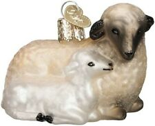 Old World Christmas 12414 Glass Blown Sheep with Lamb Ornament