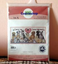 """LOVE ME LOVE MY DOG Counted Cross Stitch Kit - Size 14.5"""" x 6.5"""" - FREE SHIPPING"""