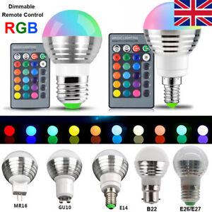 1-10Pcs 3W RGB LED Light Bulb 16 Color Changing Lamp + IR Remote Control 85-265V