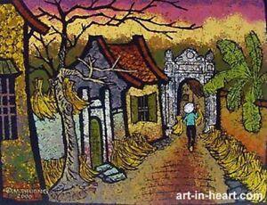 Village  OOAK lithograph   by Duong Mai Phuong  b1977 VUFA alumni & Paintings .