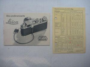 """Leitz/Leica Anleitung """"Die synchronisierte Leica"""" & Blitzlicht Karte mit Leitzah"""