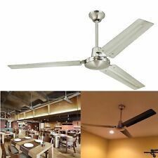 56in Three Blade Ceiling Fan w/ Ball Hanger Brushed Nickel Industrial Commercial