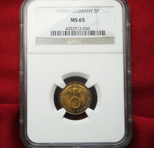 NGC MS-65 NAZI SWASTIKA 1938-A  5 ReichPfennig COIN-Germany 3rd-REICH MINT!!