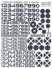 Print Scale Decals 1/72 SPANISH CIVIL WAR Nationalist Aircraft Markings