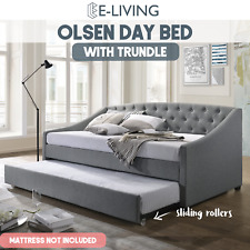 E-Living BL920DB-LG Olsen Daybed with Trundle - Light Grey