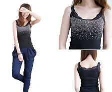 lady fashion sexy crystal diamante vest top one size fit for size 4 -10  bk