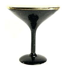 "Vintage Mid Century Wall Art / Pocket 10"" Ceramic Martini Glass Black & Gold"