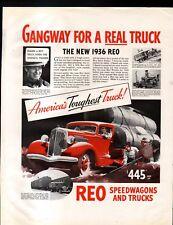 1936 REO SPEEDWAGON & TRUCKS AD- AMERICA'S TOUGHEST TRUCK!