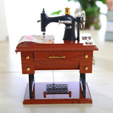 Vintage Music Box Mini Sewing Machine Style Mechanical Birthday Gift Table Deco