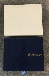 WATERMAN BOOK STYLE FOUNTAIN PEN BOX & GIFT CARDS-HOLDS 3 PENS & OUTER SLEEVE.