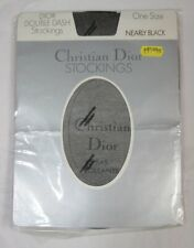 Christian Dior Double Dash Stockings One Size Nearly Black Open Pack
