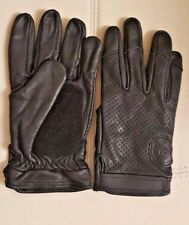 BREATHABLE Motorcycle Leather Gloves BLACK WITH VIBRATION CONTROL PALM