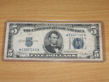 1934 B $5 Five Dollar Silver Certificate Star Note Fr. 1652* (RARE)
