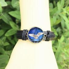 mm Glass Cabochon Leather Charm Bracelet Owl and Pentagram Black Bangle 20