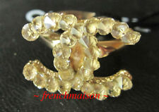 AUTHENTIC CHANEL CC Logo Ring Gold Pointy Translucent Crystal New SOLD-OUT Rare
