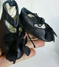 "75mm BK LEATHER SHOES  for ANTIQUE DOLL , ""Jumeau""  Shoes , Doll Clothes"