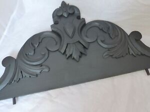 """36"""" XL Large Antique French Hand Carved Wood Blacked Pediment Salvage 19TH"""