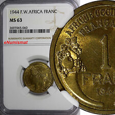 French West Africa Aluminum-Bronze 1944-L 1 Franc NGC MS63 Laureate Head KM# 2