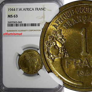French West Africa Aluminum-Bronze 1944-L 1 Franc NGC MS63 Laureate Head KM# 2