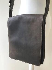 Men's leather shoulder bag, brown, Italian. Brand: Visconti.