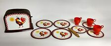 Vintage Children's Toy Metal Toaster and Plates, Saucers, Cups Rooster Design
