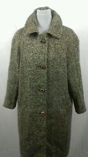 Irish Tweed Pure Wool Womens Vintage  Herringbone Tweed Coat Brn Mix 12 14  VGC