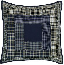 "16"" Square Pillow Columbus Blue Plaid Hand Quilted Patchwork Insert Included"