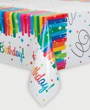 Plastic Rainbow Ribbons Birthday Tablecloth, 7ft x 4.5ft