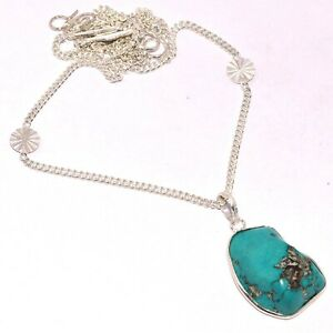 """TURQUOISE 925 SILVER PLATED CHAIN SET 1.5/22"""", S-947"""
