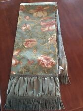 Stratford Home Green Floral Fringe Throw Tablecloth Topper