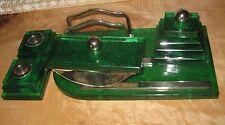 ANTIQUE 1930's ART DECO EMERALD GREEN GLASS WRITING DESK SET INDUSTRIAL AGE
