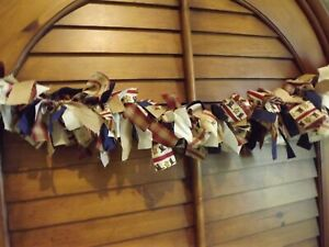 6 FT RAG GARLAND patriotic 4TH of JULY americana USA FLAGS stars red blue gold