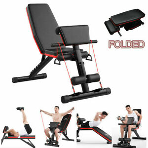 Foldable Dumbbell Bench Weight Training Fitness Incline Adjustable Workout Gym