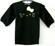 Hello Kitty Girls Dress Black Size 5 Faux Fur Bow Gold Embroidery NEW KD1032