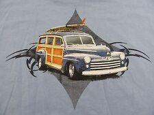 "Newport Blue ""OLD WOODIE PANEL BEACH WAGON TRUCK/SURFBOARD"" T Shirt Size XXL"