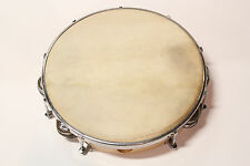 """AP PRO HAND MADE 10"""" SOLID WOOD FRAME TUNABLE TAMBOURINE w/ GOAT SKIN HEAD"""