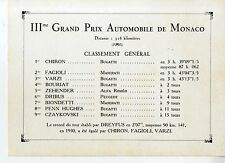 PHOTO ORIGINAL VINTAGE-G.P. AUTOMOBILES DE MONACO 1931-CLASSEMENT GENERAL