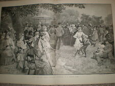 Music for the People Saturday Afternoon in a London Park 1891 old print S Begg