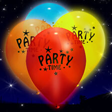 "15 x ""Party Time"" Light Up LED iLLoom Balloons - 15 pack Mixed Colour Balloon"