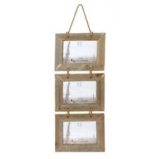 """Quality Large Triple Rustic Hanging Driftwood Frame 7x5"""" Photo Frames on Rope"""