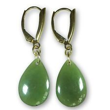 Genuine Nephrite Jade New Lever Back Earrings 14 K Yellow Gold Drop, 8.3 carats
