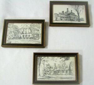 Vintage Charles H Overly Lot of 3 Framed Prints - Historic Williamsburg Virginia