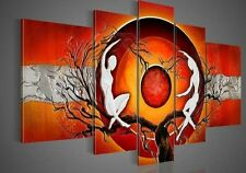 Hand Paint Canvas Oil Paintings Picture Home Decor Wall Art Red Sun Abstract