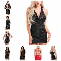 Women Faux Leather Sleeveless Backless Evening Party Bodycon Clubwear Mini Dress