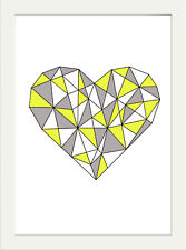 GEOMETRIC HEART MODERN ART PRINT PICTURE  POSTER WALL ART CUSTOM COLOUR