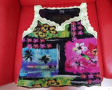 Tee shirt à bretelles PAUSE CAFE en résille noir multicolore